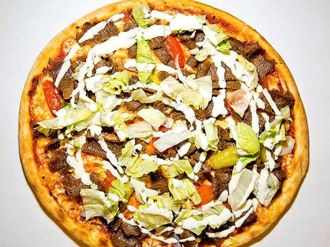 En kebabpizza.