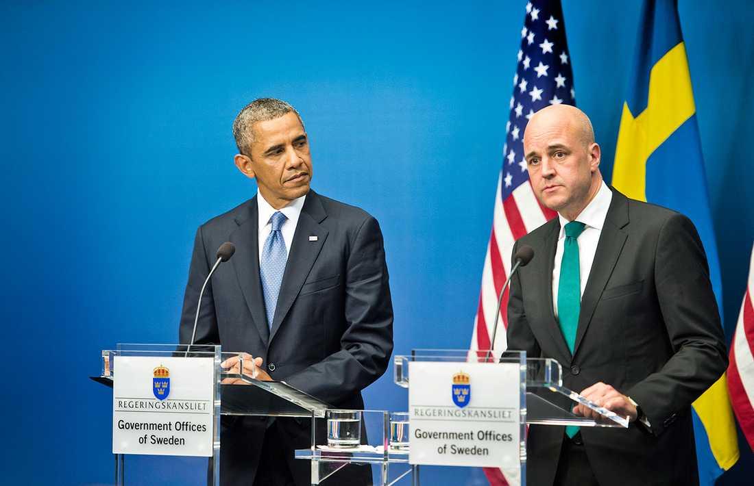 TAR INTRYCK Här möter Reinfeldt Obama – och efter det är hans snipsknut inte sig lik.