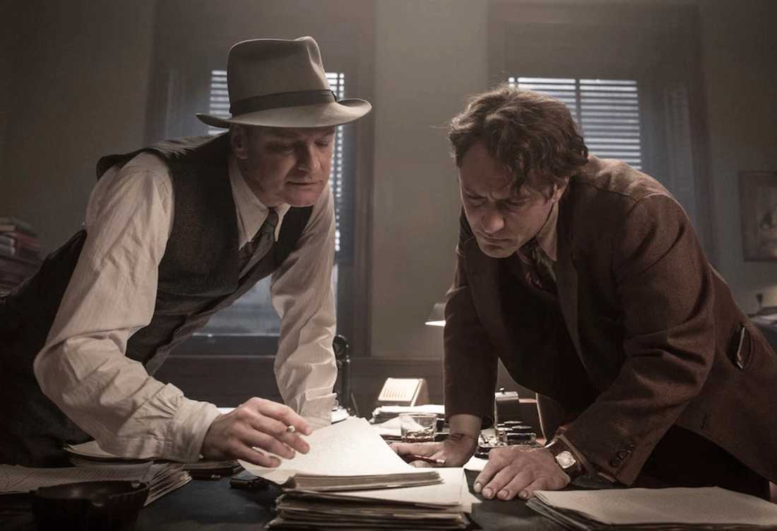 Colin Firth som redaktören Max Perkins, Jude Law som Thomas Wolfe.