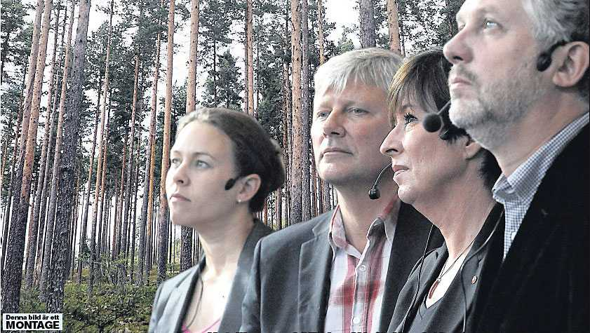 Maria Wetterstrand (MP), Lars Ohly (V), Mona Sahlin (S) och Peter Eriksson (MP).