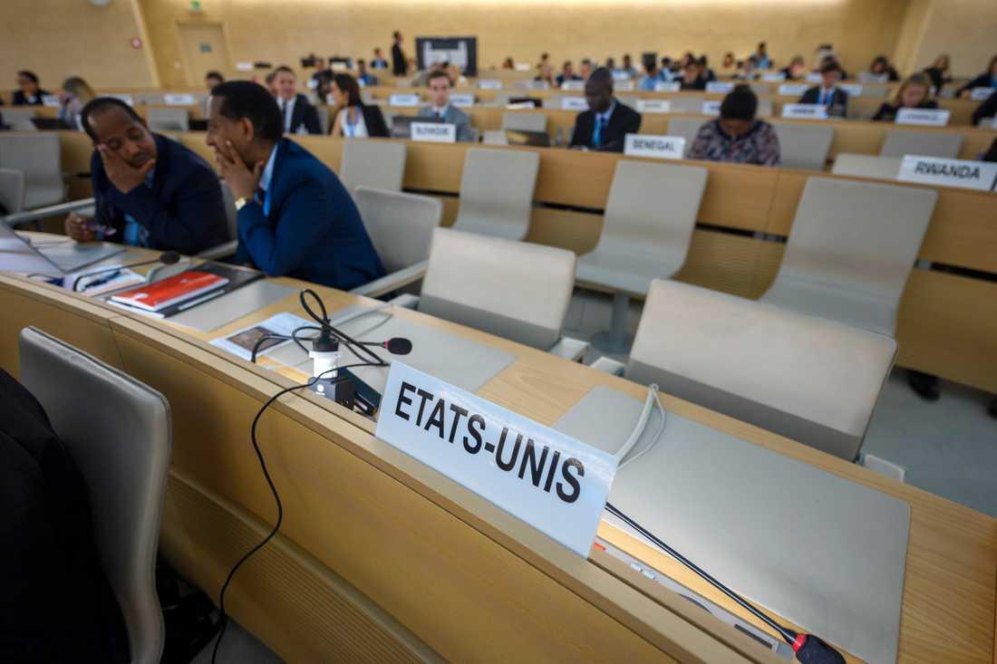 USA:s plats vid FN:s människorättsråd i Genève. Arkivbild från i juni 2018.