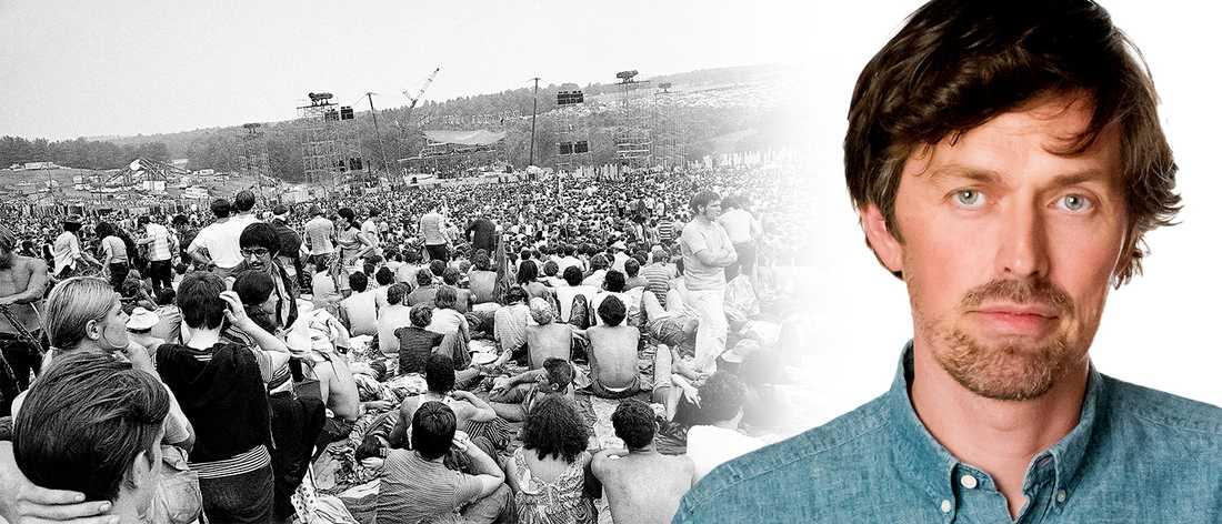 Woodstock-festivalen 15–17 augusti 1969 samlade 400000 besökare som levde hippieliv i ömsom stekande sol ömsom lervälling på ett fält norr om New York.
