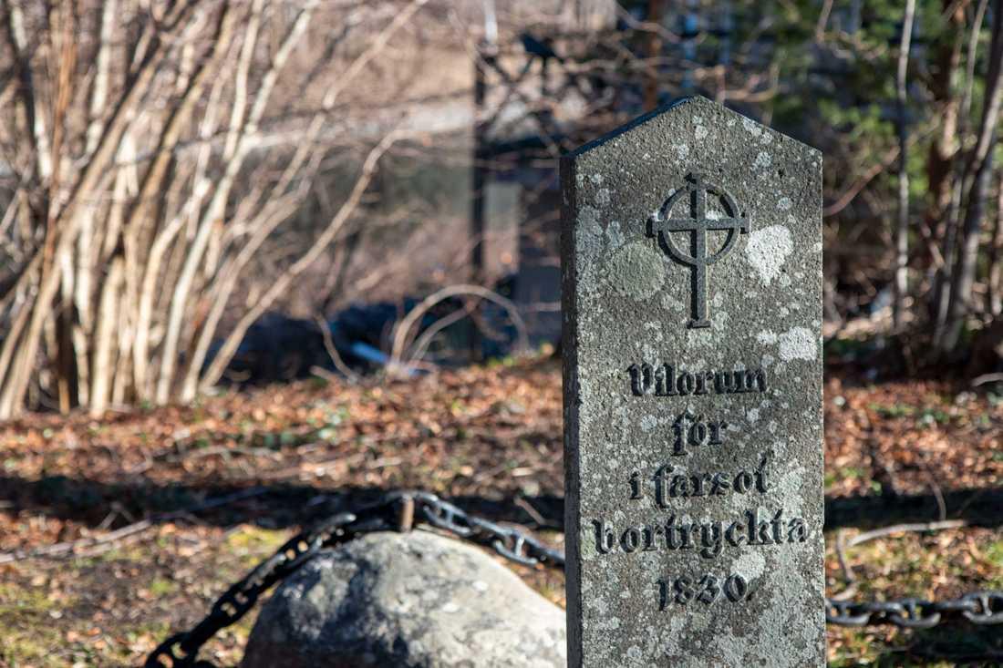 Kolerakyrkogården på Dalarö ligger i backen ner mot Askfatshamnen