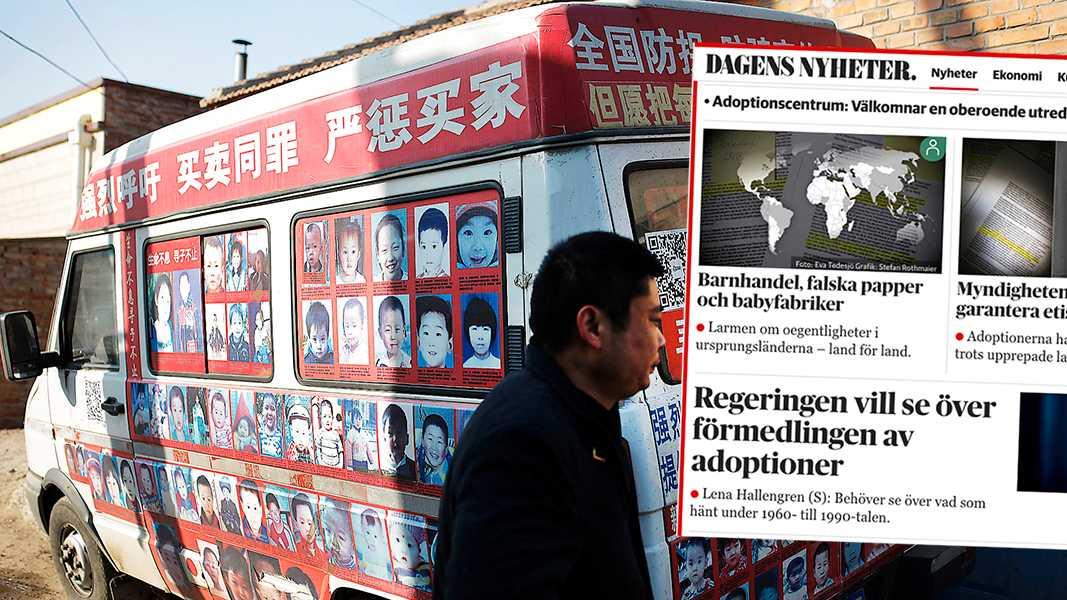 Xiao Chaohua, som förlorade sin son utanför en affär 2007, visar foton på efterlysta barn på sin skåpbil. Dagens Nyheters artikelserie om barn som har kidnappats och sålts till adoption är smärtsam läsning, skriver Anna Andersson.