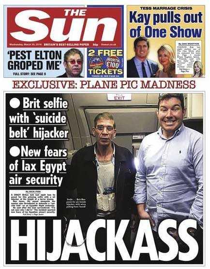 Brittska The Suns tidningsetta efter flygplanskapningen.