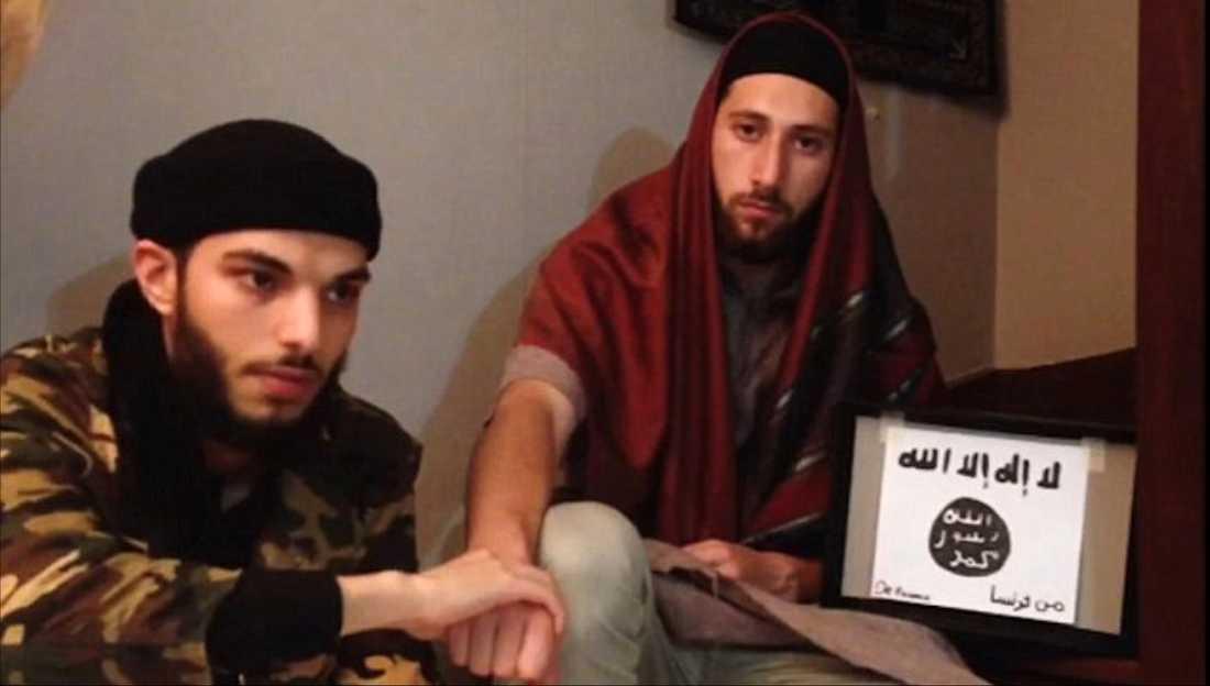 """En video publiceras av IS """"Nyhetsbyrå"""" Amaq visar två män som uppges vara männen från attacken i Frankrike."""
