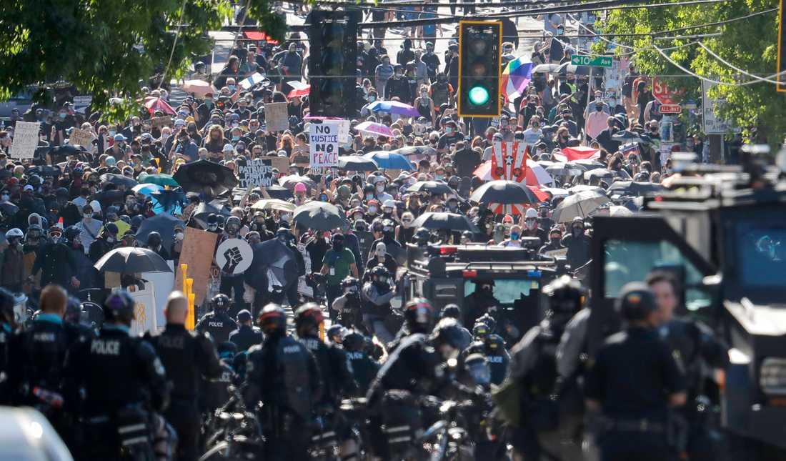 En protestmarsch mot polisvåld i Seattle i somras.