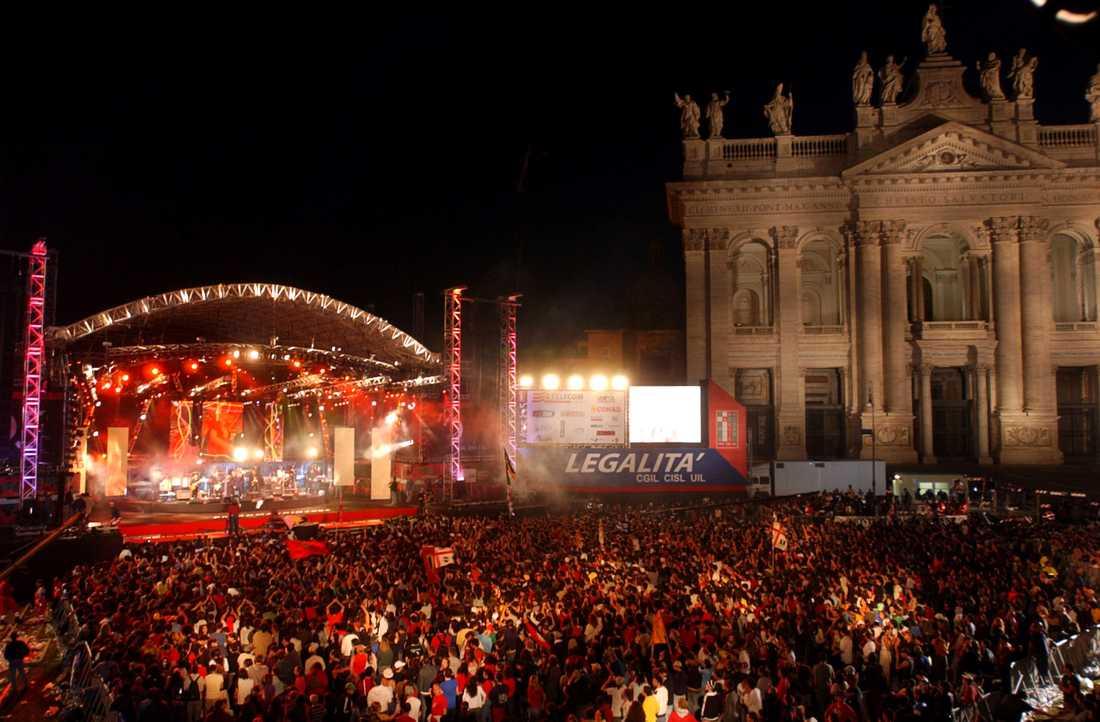 Varje år på första maj anordnas en stor gratiskonsert i Italiens huvudstad Rom. Men i år kommer den att genomföras utan publik – och i stället direktsändas av landets public service-bolag. Arkivbild.