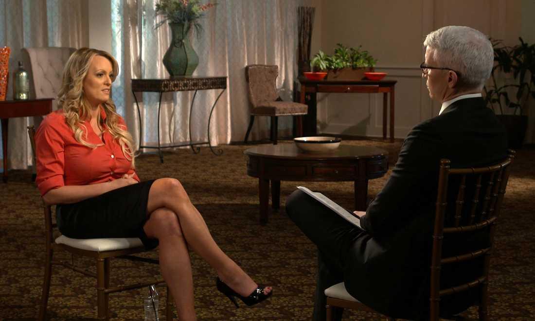 Bild från 60 minutes-intervjun med Stormy Daniels.