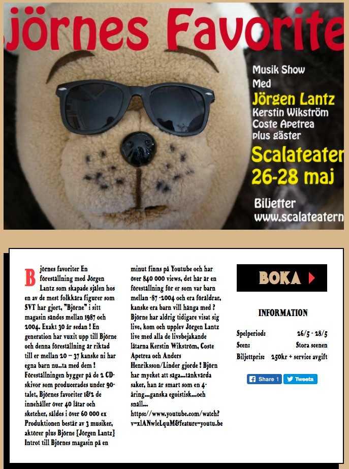 Informationen för den nya showen på Scalateaterns hemsida