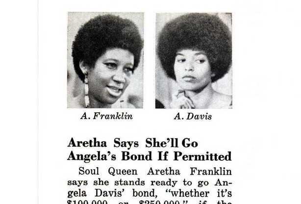 """Aretha Franklin var beredd att betala borgen för den fängslade svarta panter-aktivisten Angela Davis, som  president Nixon stämplat som """"terrorist""""."""
