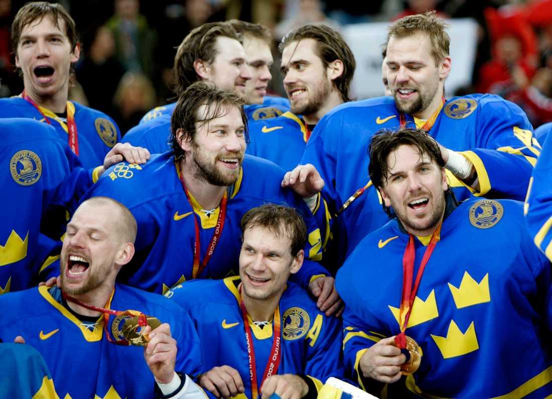 Henrik Lundqvist och Nicklas Lidström under OS i Turin 2006.