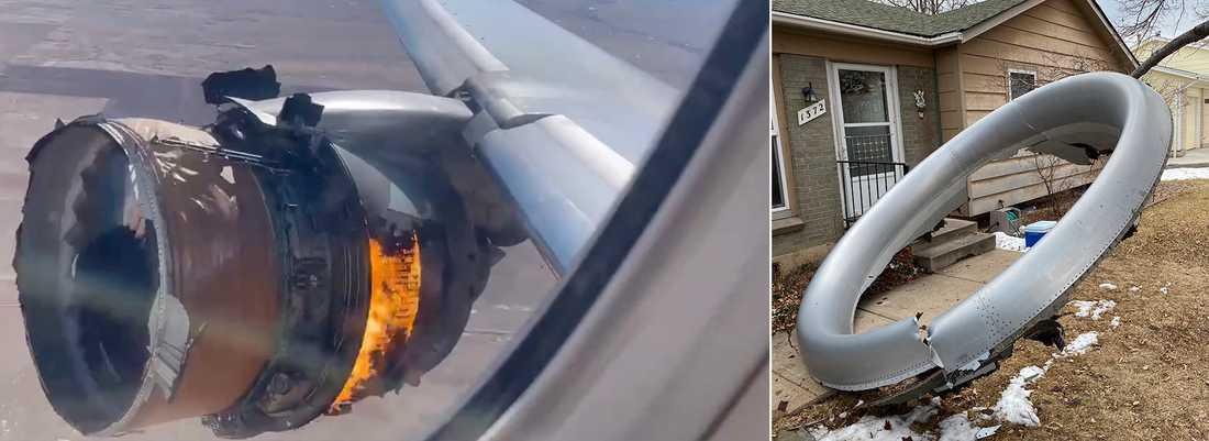 United Airlines-planet som drabbades av ett motorhaveri under lördagen.