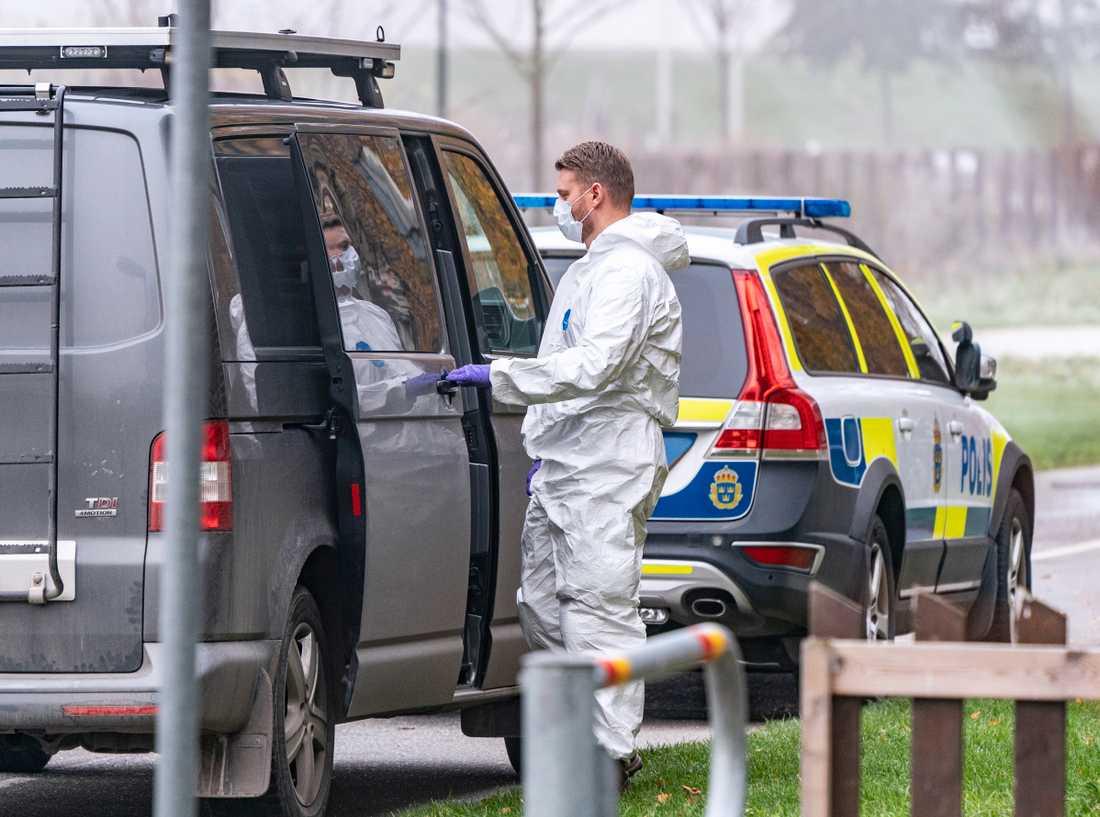 Polis och kriminaltekniker i Malmö utreder det misstänkta mordet i södra Malmö.