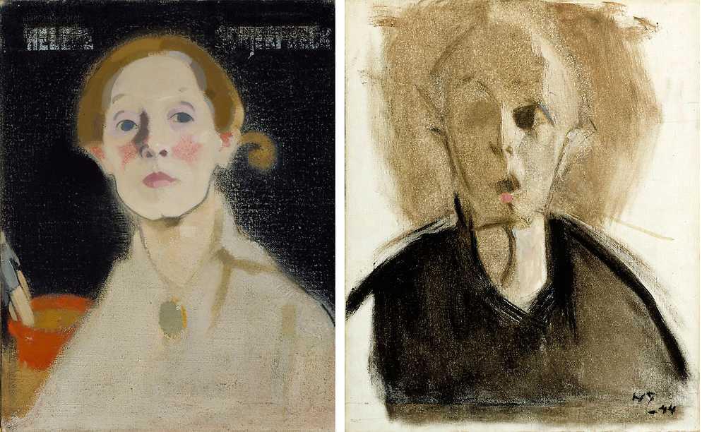 """""""Självporträtt med svart fond"""", 1915, och """"Självporträtt med röd fläck"""", 1944, båda olja på duk. (Målningarna är beskurna)."""