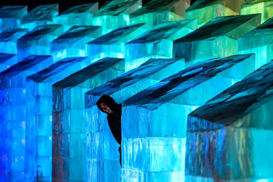 En besökare beundrar isskulpturer på den kända festivalen i Harbin. Bilden är från invigningen den 5 januari – nu drabbas staden av lockdown.