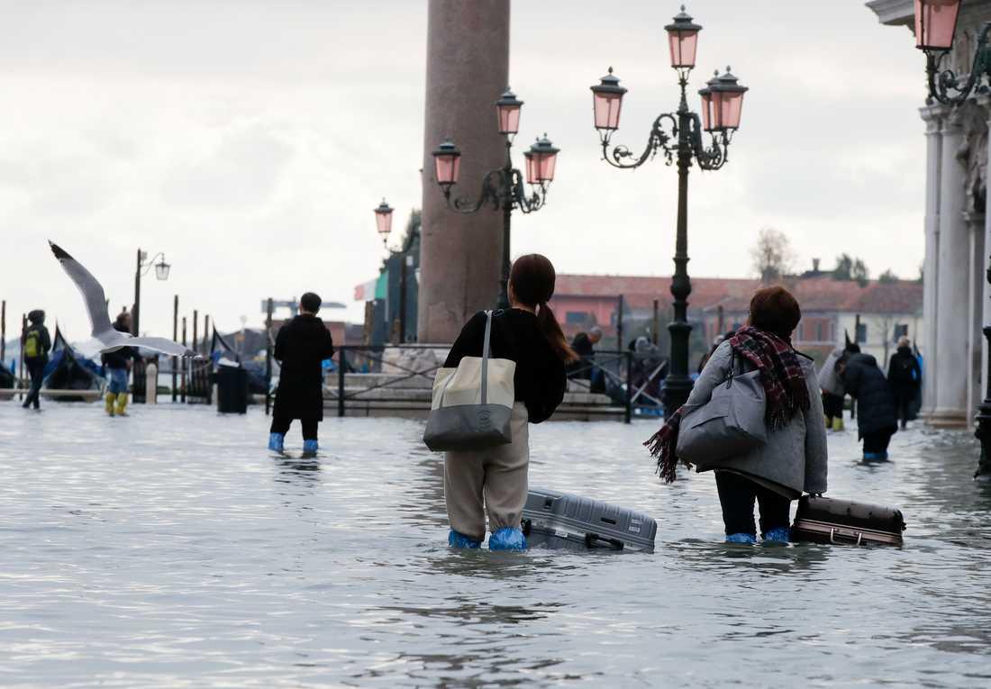 Turister vadar fram med sina väskor på Markusplatsen i Venedig den 13 november förra året.