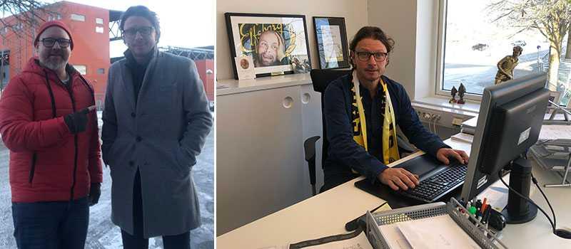 Sportbladets Robert Laul möter Elfsborgs sportchef Stefan Andreasson.