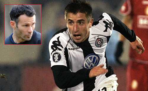 Zoran Tosic ersätter Ryan Giggs (lilla bilden).
