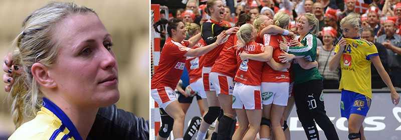 Johanna Ahlm i tårar efter storförlusten mot Danmark.