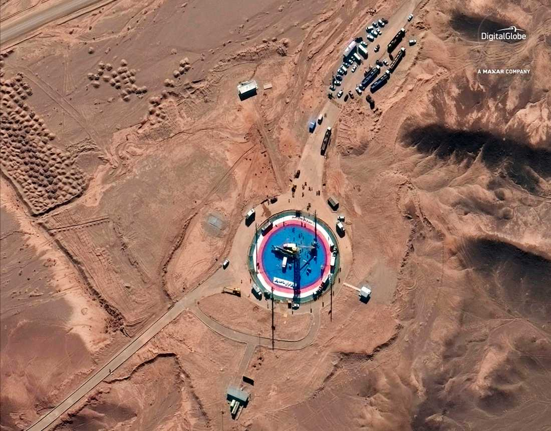 Satellitbild visar Imam Khomeini space center. Enligt USA används rymdbasen i hemlighet för att ta fram ballistiska missiler.