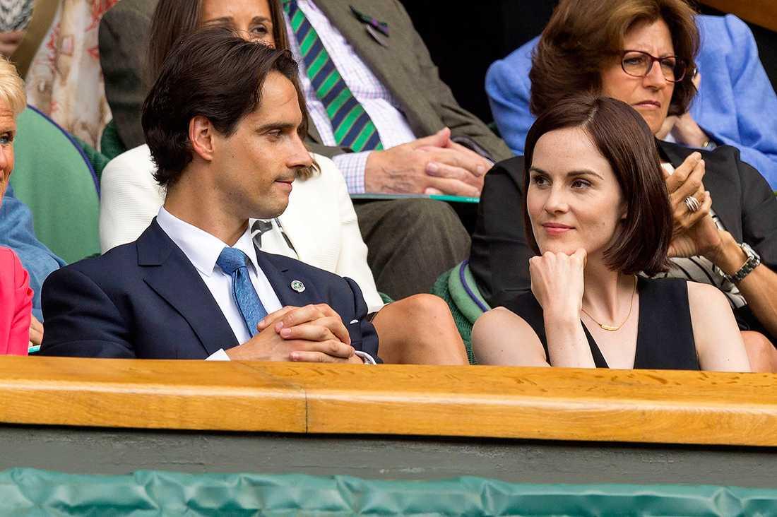 John Dineen och Michelle Dockery under Wimbledon 2014.