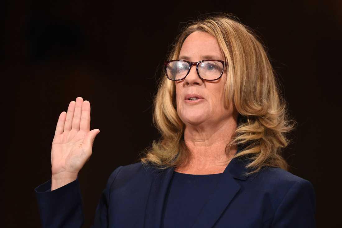 Professor Christine Blasey Ford, som anklagat HD-domarkandidaten Brett Kavanaugh för sexuella övergrepp.