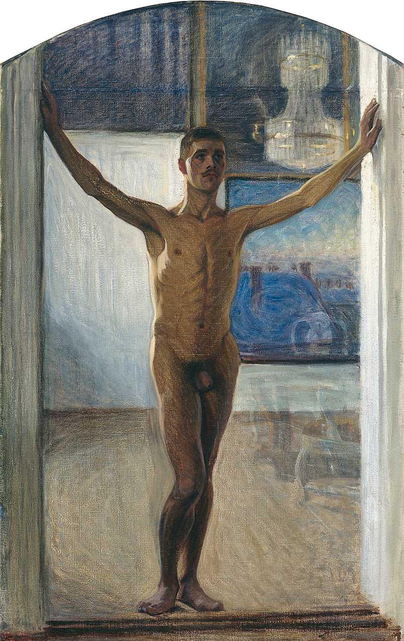 I dag är det lätt att avkoda det erotiska innehållet i Eugène Janssons figurstudier, men länge hölls det tyst om hans homosexualitet. Naken yngling, 1907, olja på duk. Foto: Lars Engelhardt