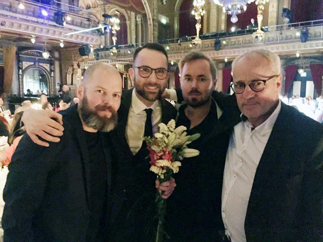 Gänget bakom Maktens kvitton, Jonathan Jeppsson, Victor Lindbom, Mattias Sandberg och Richard Aschberg.