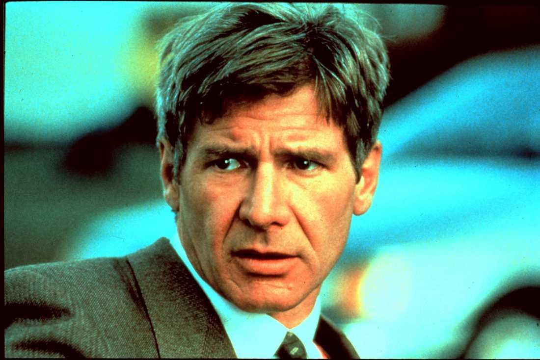 """Harrison Ford i filmatiseringen av """"Påtaglig fara"""" 1994."""