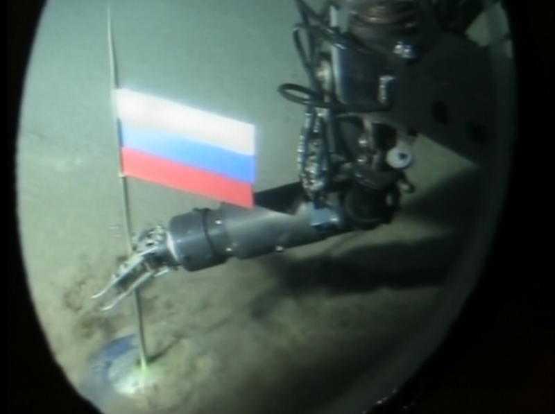 Markering Ryssland har placerat sin flagga på den geografiska nordpolen – 4300 meter ner i havet.