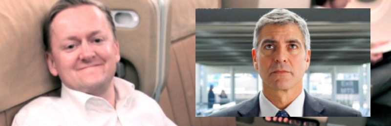 """För Martin Björnström är livet uppe i det blå en livsstil. Foto: PRIVAT (Infälld bild: Clooney i """"Up in the air"""". Foto: DW STUDIOS)"""