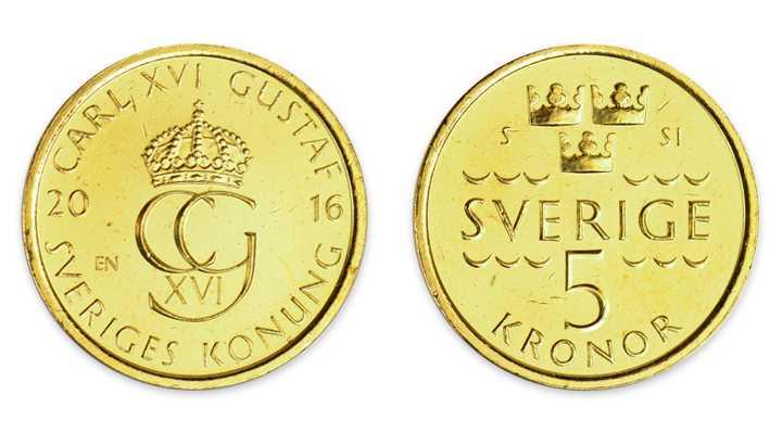 Guldig ny 5- krona. Helt nickelfri och mycket mindre och lättare än dagens.