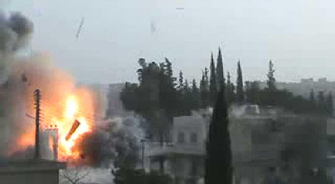 En explosion i Idlib.