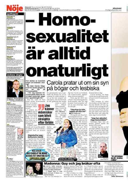 Carola om homosexuella i Aftonbladet 19/12 2001.