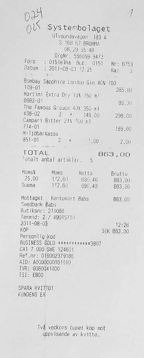 Några av kvittona från alkoholkonsumtionen på de tre statsplanen.