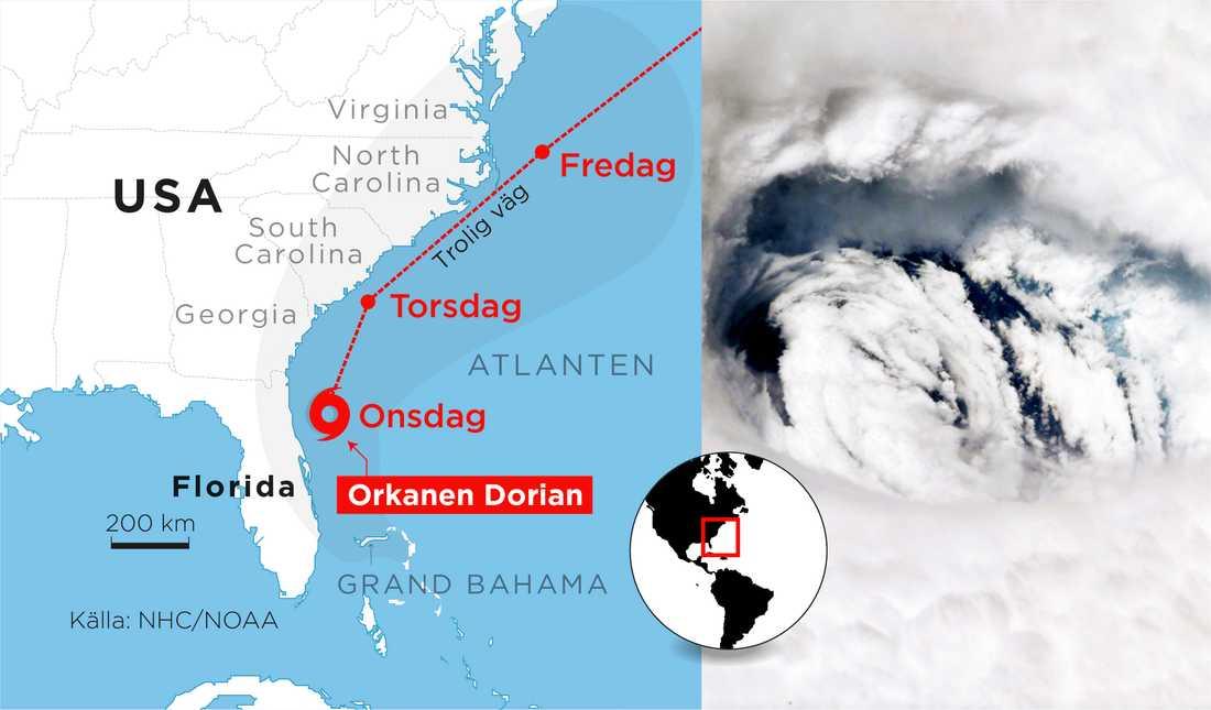 Orkanen Dorians väg.