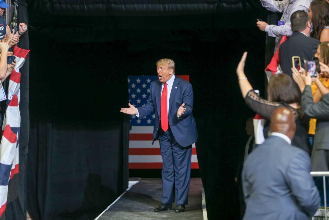 USA:s president Donald Trump under kampanjmötet i Tulsa, Oklahoma i juni. Arkivbild.