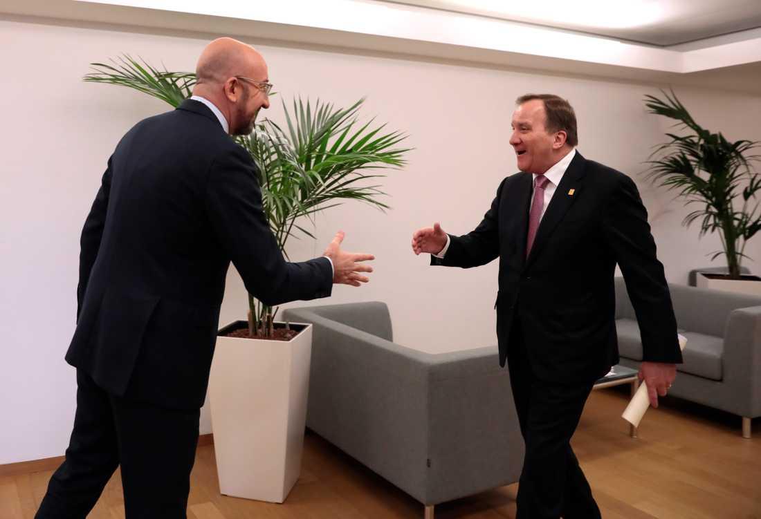 Statsminister Stefan Löfven (S) träffade EU:s ordförande Charles Michel inför EU-toppmötet i Bryssel på torsdagen.