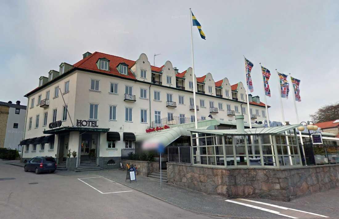 Grand Hotel i Falkenberg är ett av hotellen Patrick Reslow bott på.