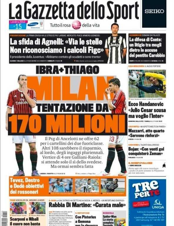 Gazzetta dello Sports framsida i dag.
