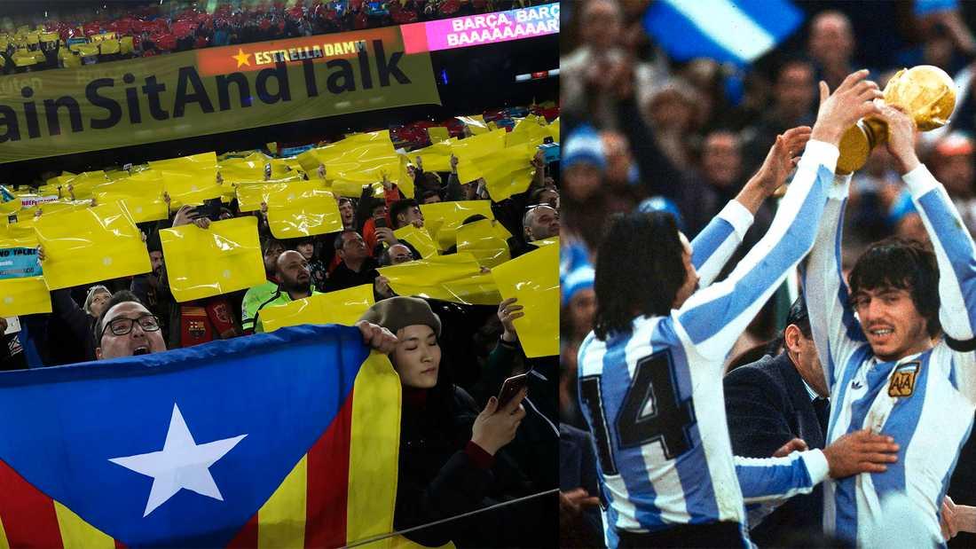 FC Barcelona upprätthåller en katalansk identitet och utmanar därmed den spanska centralmakten. T h: Argentina vinner VM på hemmaplan 1978.