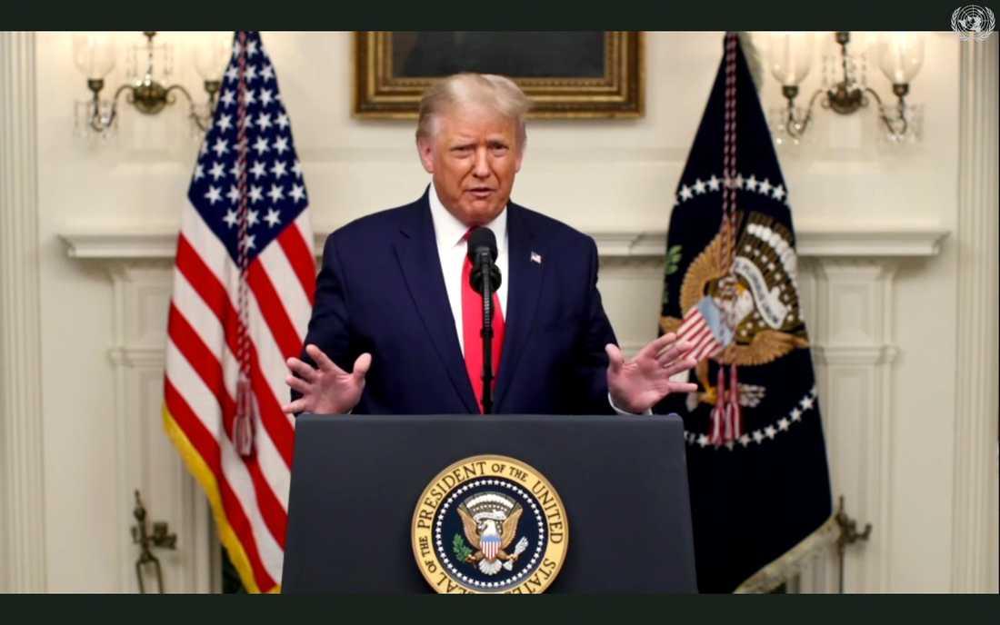 USA:s president Donald Trump talar till FN.