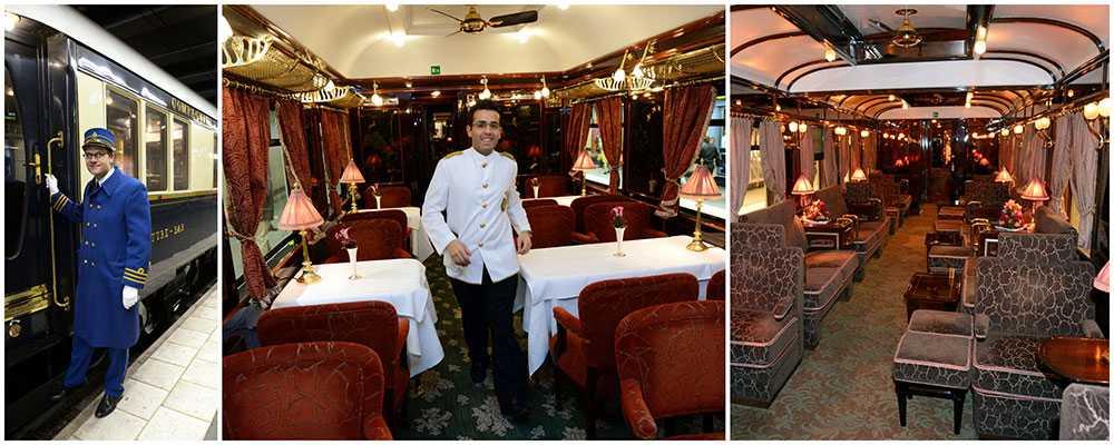 Orientexpressen är en lyxig upplevelse med butlerservice och middag vid bord med vita dukar.