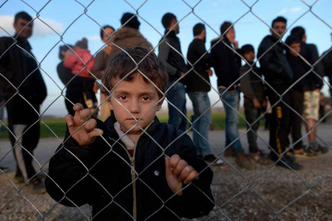 Roni, 4 år, tittar ut genom ett stängsel vid ett läger mellan Grekland och Makedonien. Bakom honom ringlar sig matkön i lägret.