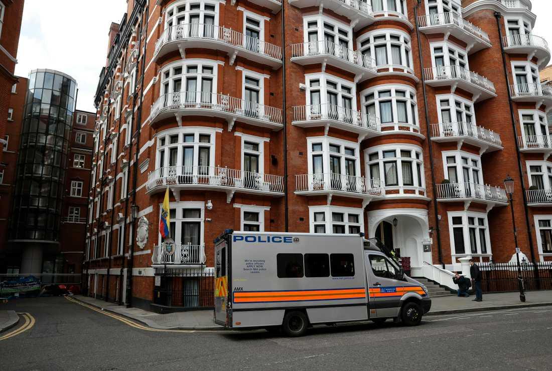 Ecuadors ambassad i London, där Julian Assange vistades under sju år. Bilden är tagen förra veckan.