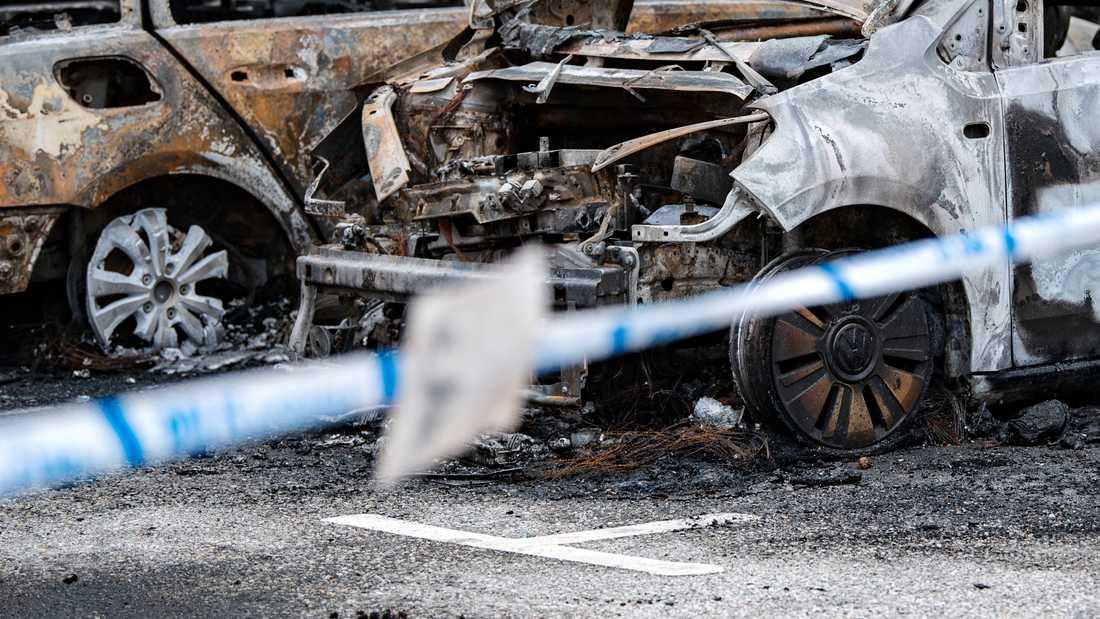 Flera bilar har brunnit på flera platser i Skåne under natten mot söndagen. Arkivbild