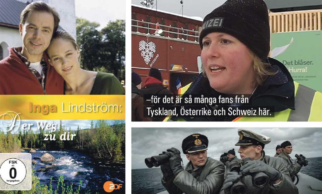 """Tysk trio. Den tyska filmserien om Inga Lindström, polisen Marei i Östersund och tv-serien """"Das Boot""""."""