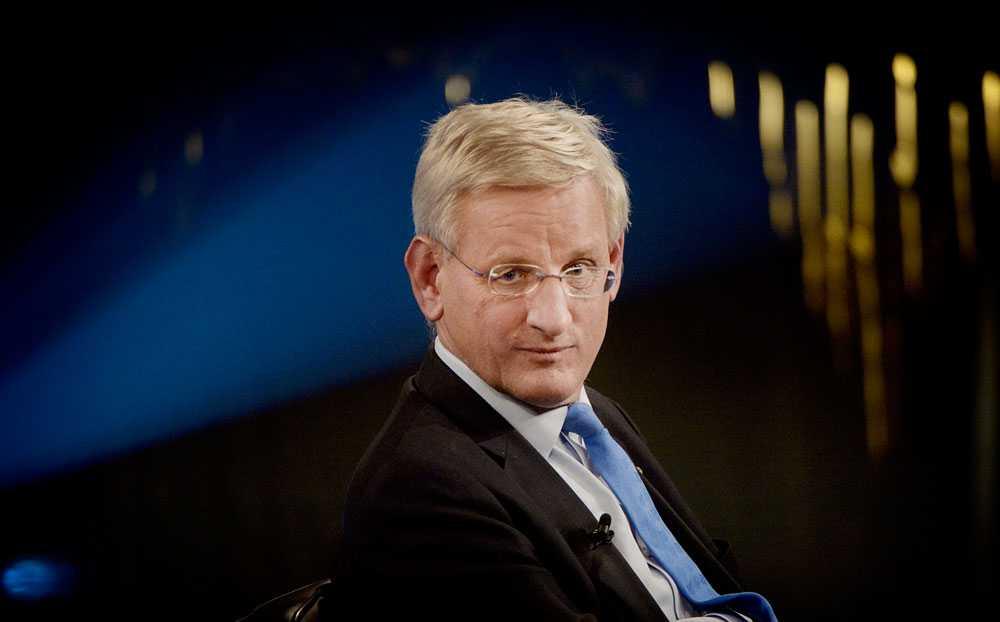 "Carl Bildt under talkshowen ""Skavlan""."