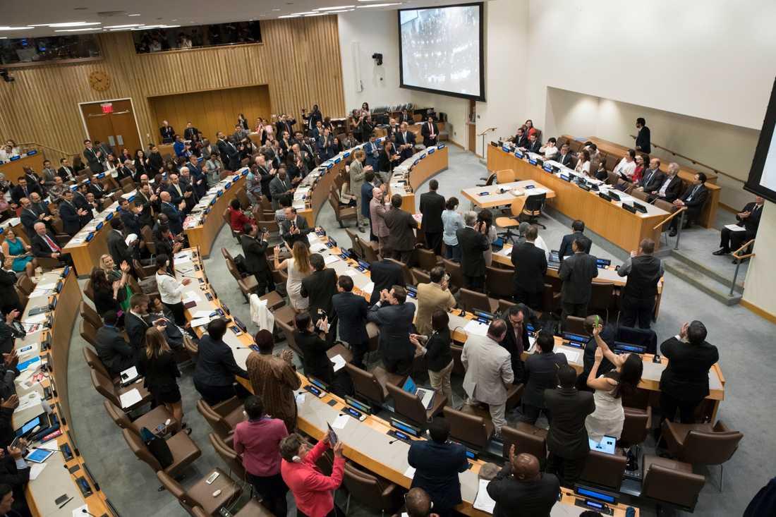 Delegater reste sig för en stående ovation efter att ha röstat i genom FN:s konvention om förbud mot kärnvapen i juli 2017.